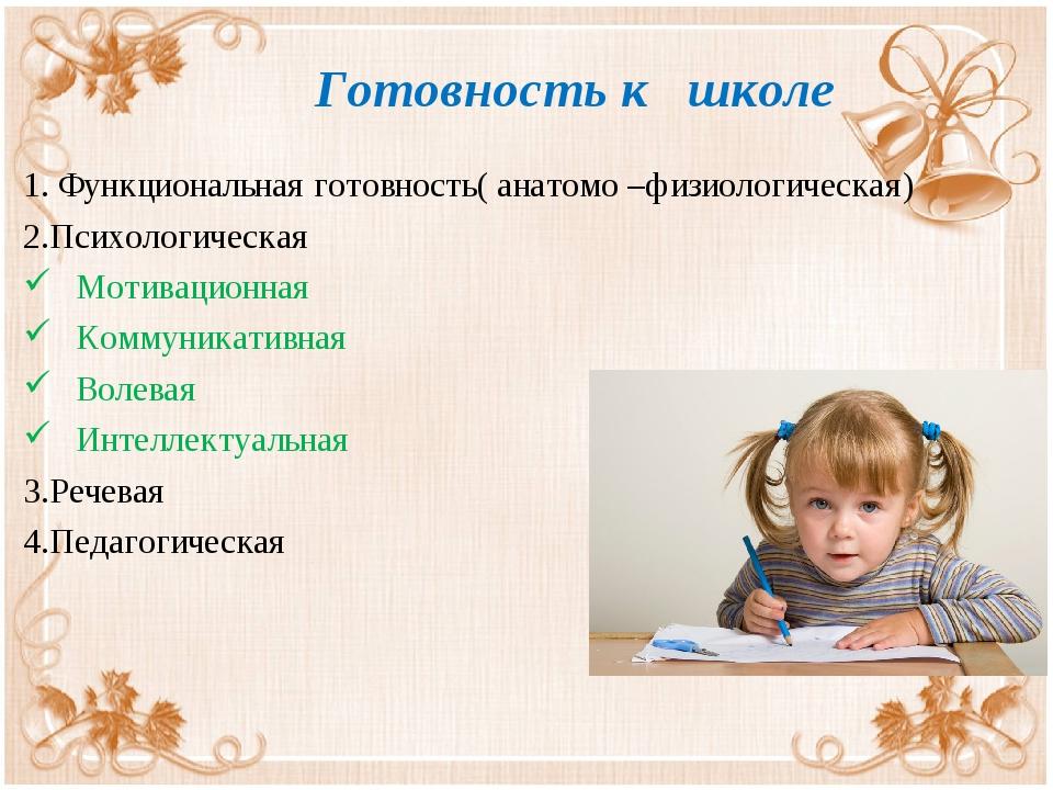 Готовность к школе 1. Функциональная готовность( анатомо –физиологическая) 2...