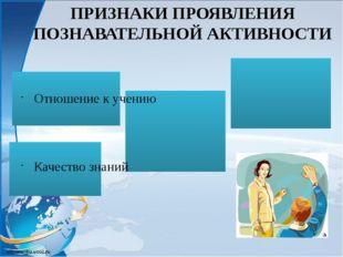 ПРИЗНАКИ ПРОЯВЛЕНИЯ ПОЗНАВАТЕЛЬНОЙ АКТИВНОСТИ Отношение к учению Качество зн