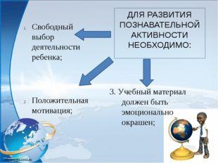 ДЛЯ РАЗВИТИЯ ПОЗНАВАТЕЛЬНОЙ АКТИВНОСТИ НЕОБХОДИМО: 3. Учебный материал должен