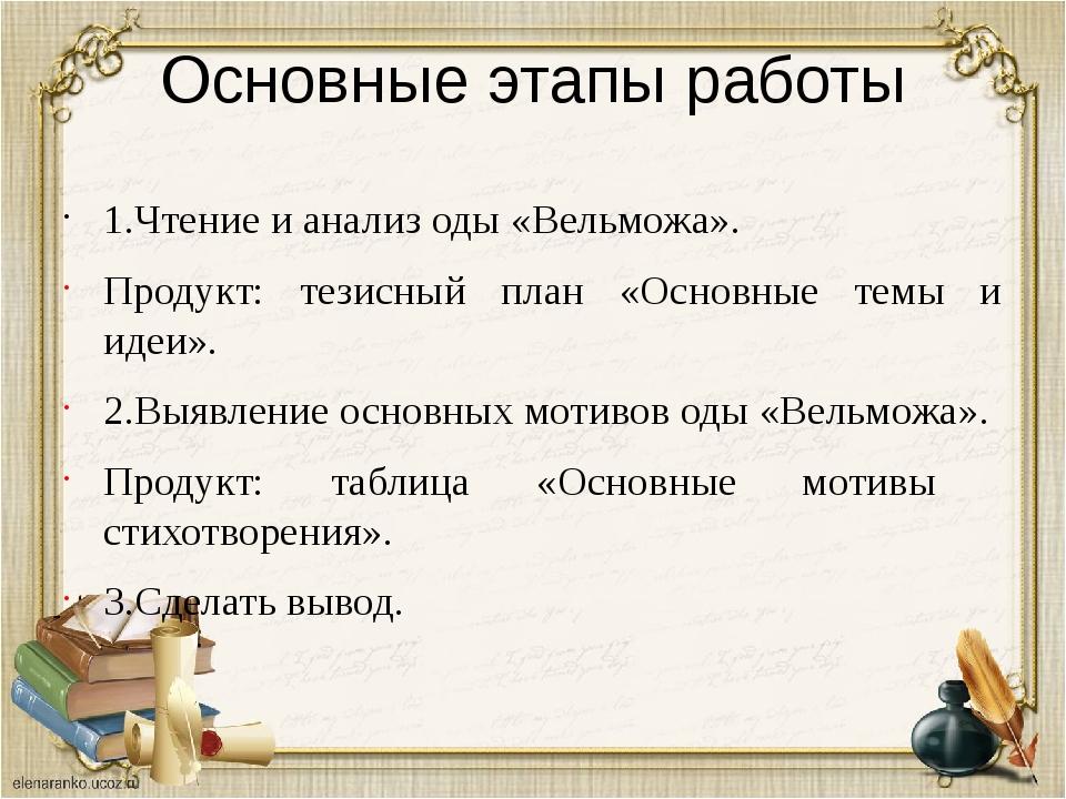 Основные этапы работы 1.Чтение и анализ оды «Вельможа». Продукт: тезисный пла...