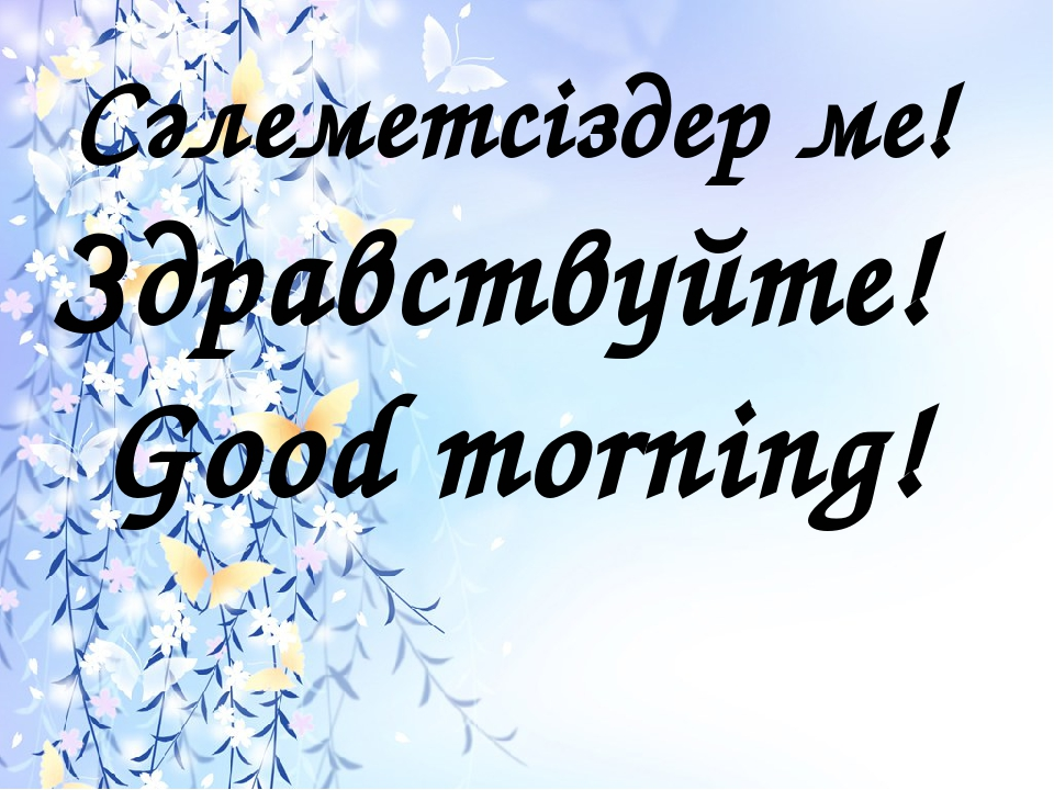 Сәлеметсіздер ме! Здравствуйте! Good morning!