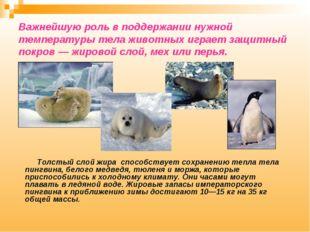 Важнейшую роль в поддержании нужной температуры тела животных играет защитный