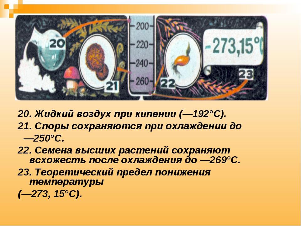 20. Жидкий воздух при кипении (—192°С). 21. Споры сохраняются при охлаждении...
