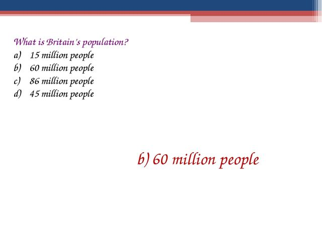 What is Britain's population? 15 million people 60 million people 86 million...