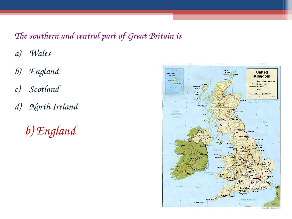 The southern and central part of Great Britain is Wales England Scotland Nort...