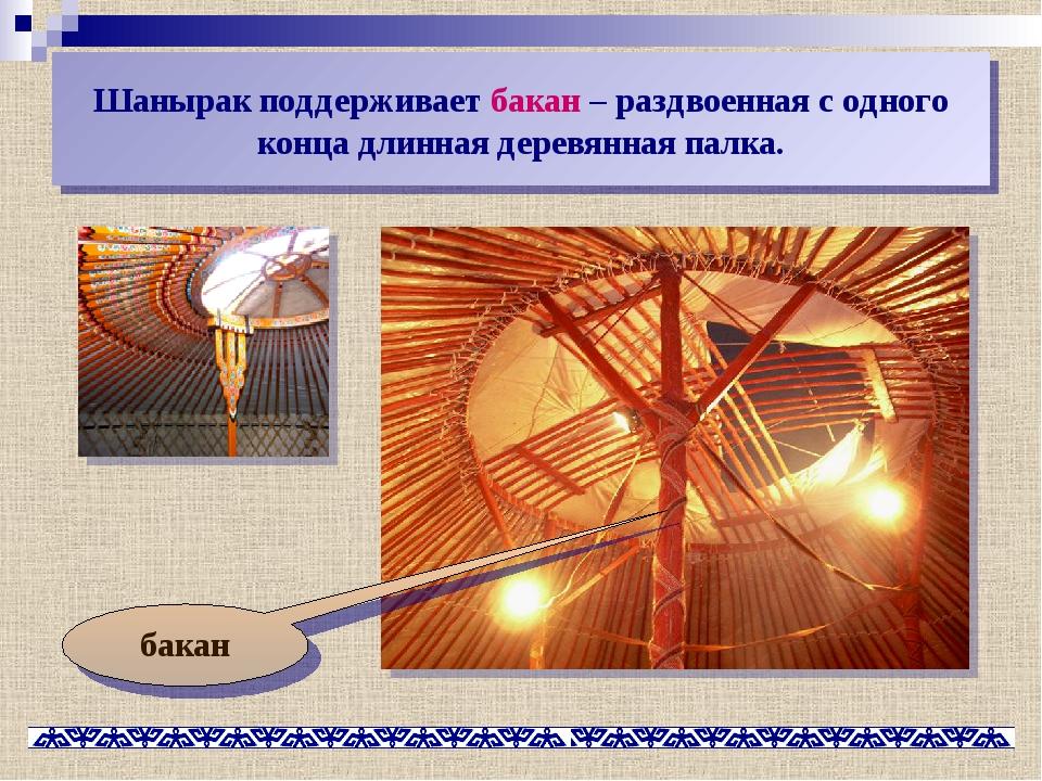 Шанырак поддерживает бакан – раздвоенная с одного конца длинная деревянная па...