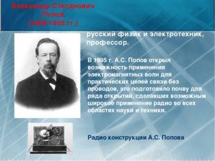 Александр Степанович Попов (1859-1905 гг.) Радио конструкции А.С. Попова русс