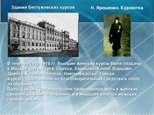 Здание Бестужевских курсов Н. Ярошенко. Курсистка В течение 1905-1916 гг. Выс