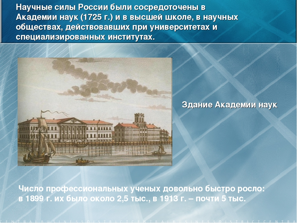 Научные силы России были сосредоточены в Академии наук (1725 г.) и в высшей ш...