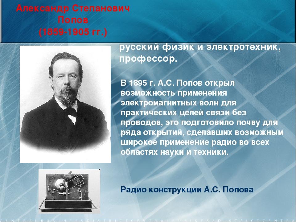 Александр Степанович Попов (1859-1905 гг.) Радио конструкции А.С. Попова русс...