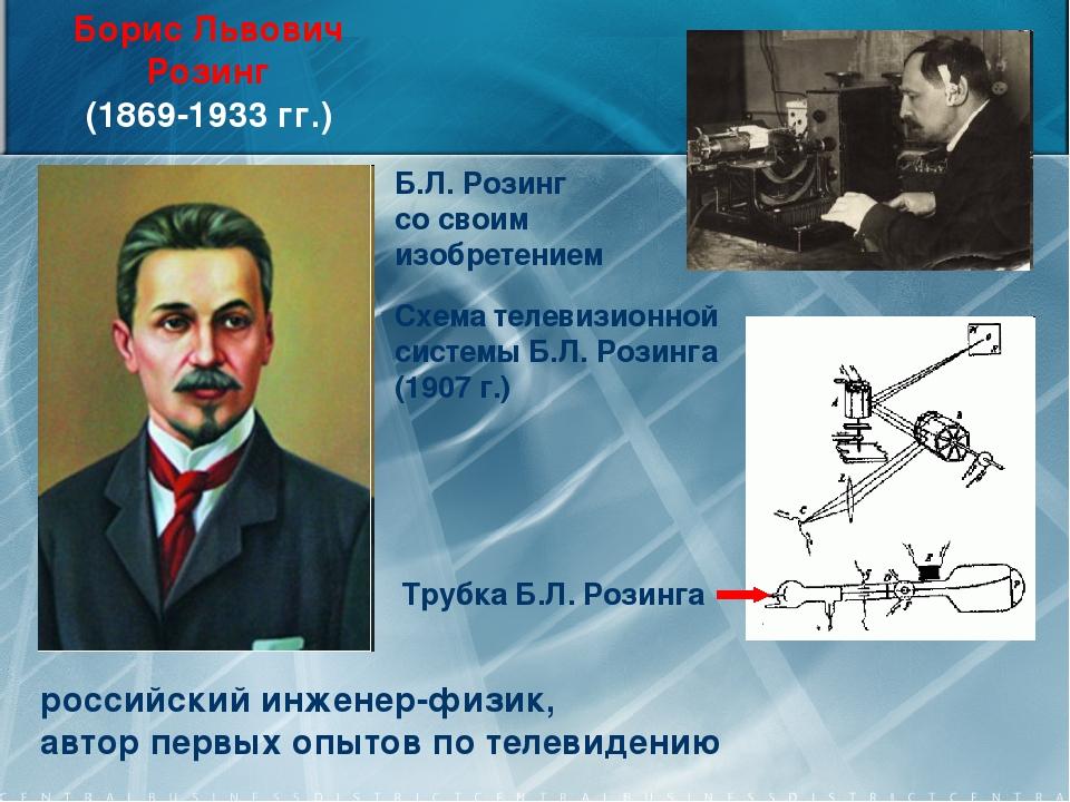Борис Львович Розинг (1869-1933 гг.) российский инженер-физик, автор первых о...