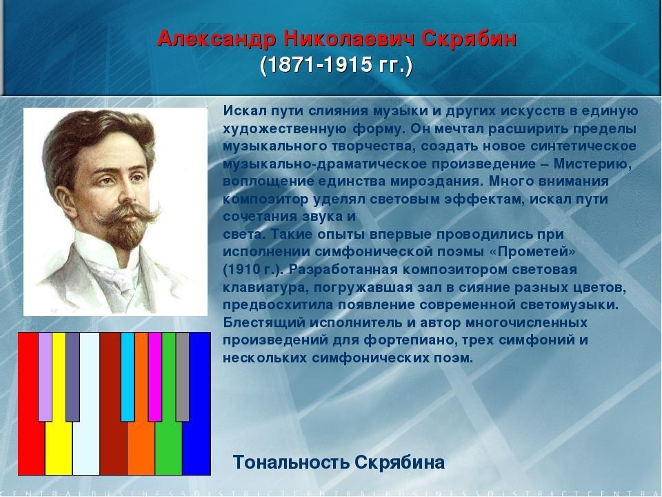 Александр Николаевич Скрябин (1871-1915 гг.) Тональность Скрябина Искал пути...