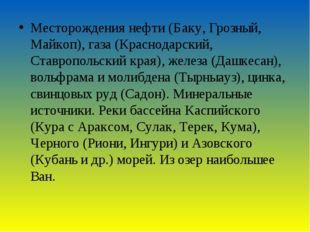 Месторождения нефти (Баку, Грозный, Майкоп), газа (Краснодарский, Ставропольс