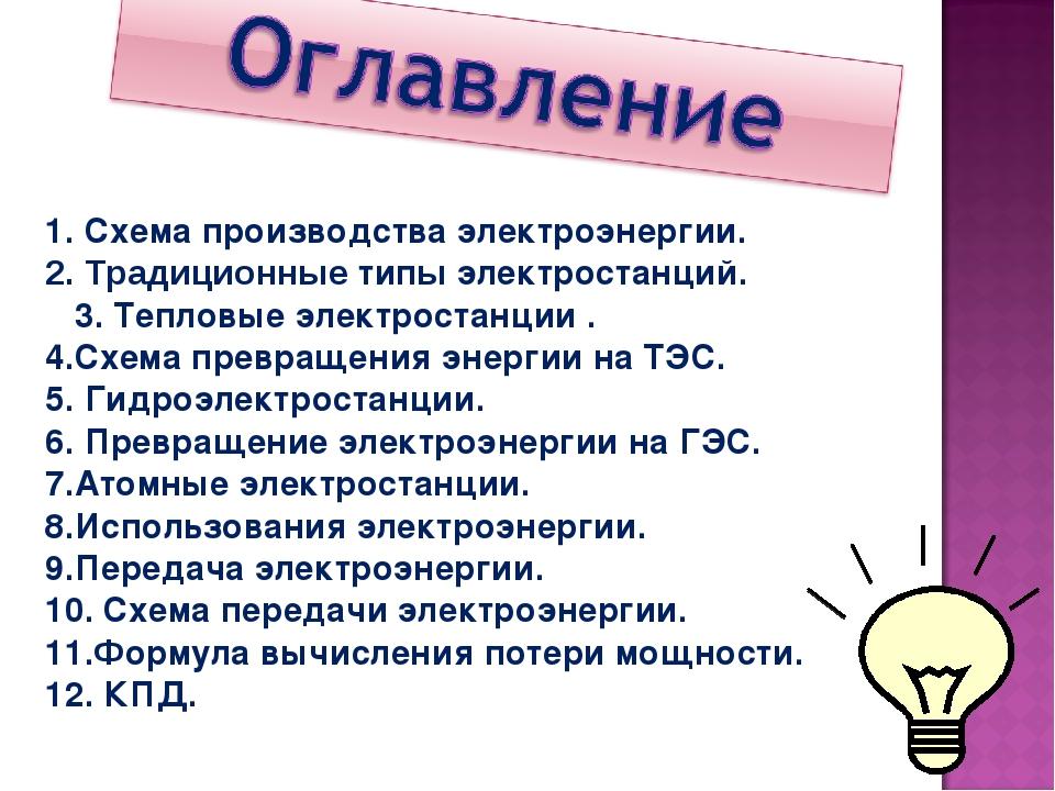 Схема производства электроэнергии. Традиционные типы электростанций. 3. Тепло...