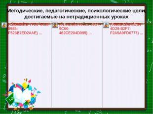 Методические, педагогические, психологические цели, достигаемые на нетрадицио