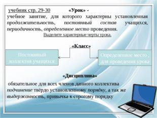 учебник стр. 29-30 «Урок» - учебное занятие, для которого характерны установ