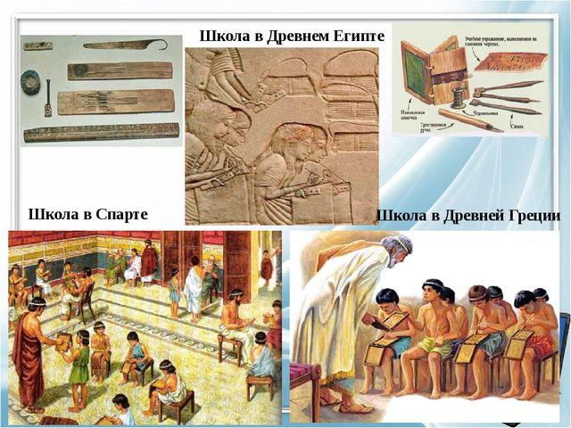 Школа в Древнем Египте Школа в Спарте Школа в Древней Греции