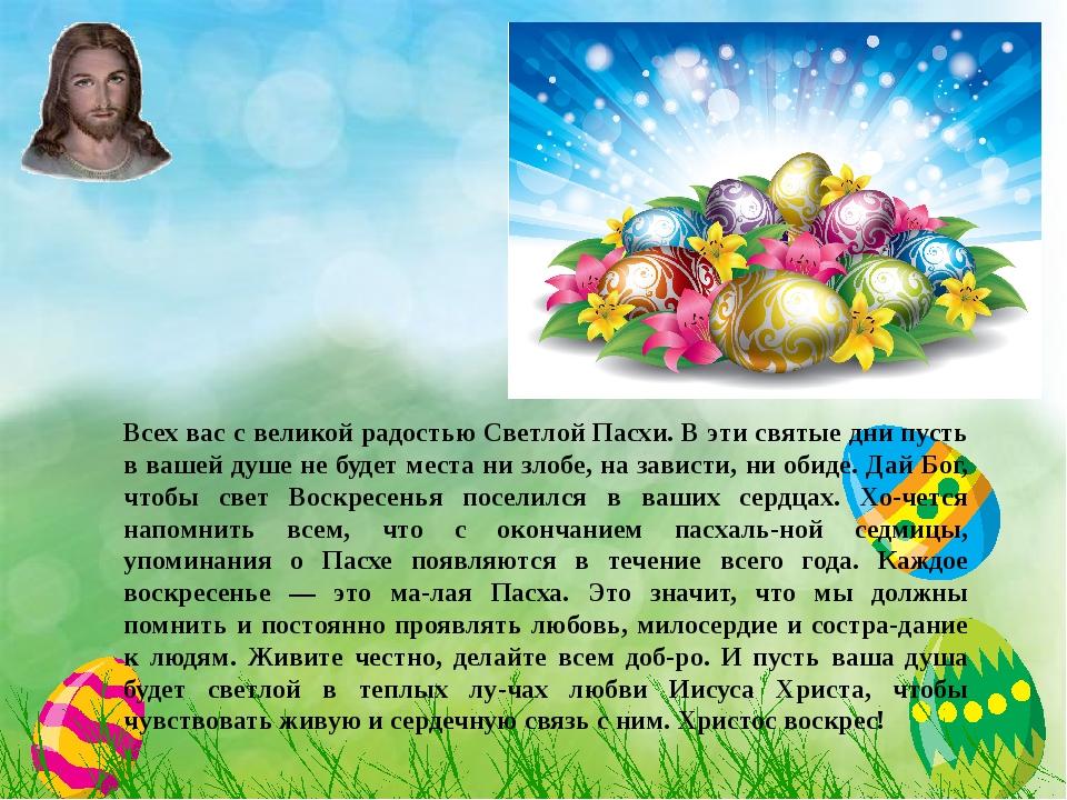 Всех вас с великой радостью Светлой Пасхи. В эти святые дни пусть в вашей ду...