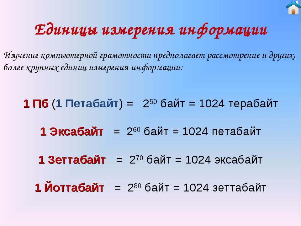 Единицы измерения информации 1 Пб (1 Петабайт) = 250 байт = 1024 терабайт 1...