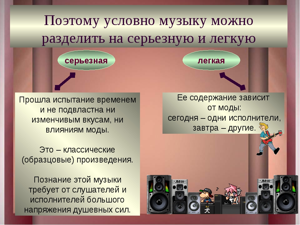 Поэтому условно музыку можно разделить на серьезную и легкую Прошла испытание...