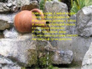 Живой родник, с живой водою Природой нам подарен он, И мы сберечь должны с то