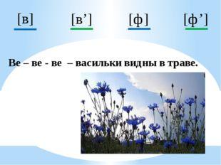 [ф] [в'] [ф'] [в] Ве – ве - ве – васильки видны в траве.