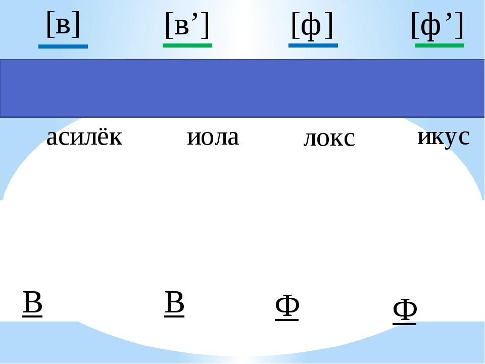 асилёк иола локс икус В Ф Ф В [ф] [в'] [ф'] [в]