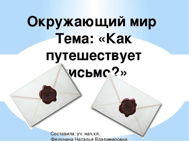 Окружающий мир Тема: «Как путешествует письмо?» Составила: уч. нач.кл. Федуни...