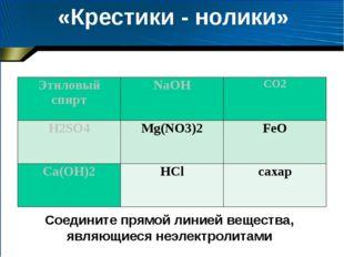 «Крестики - нолики» Соедините прямой линией вещества, являющиеся неэлектролит