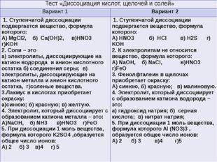 Тестирование Тест«Диссоциация кислот, щелочей и солей» Вариант 1 Вариант 2 1