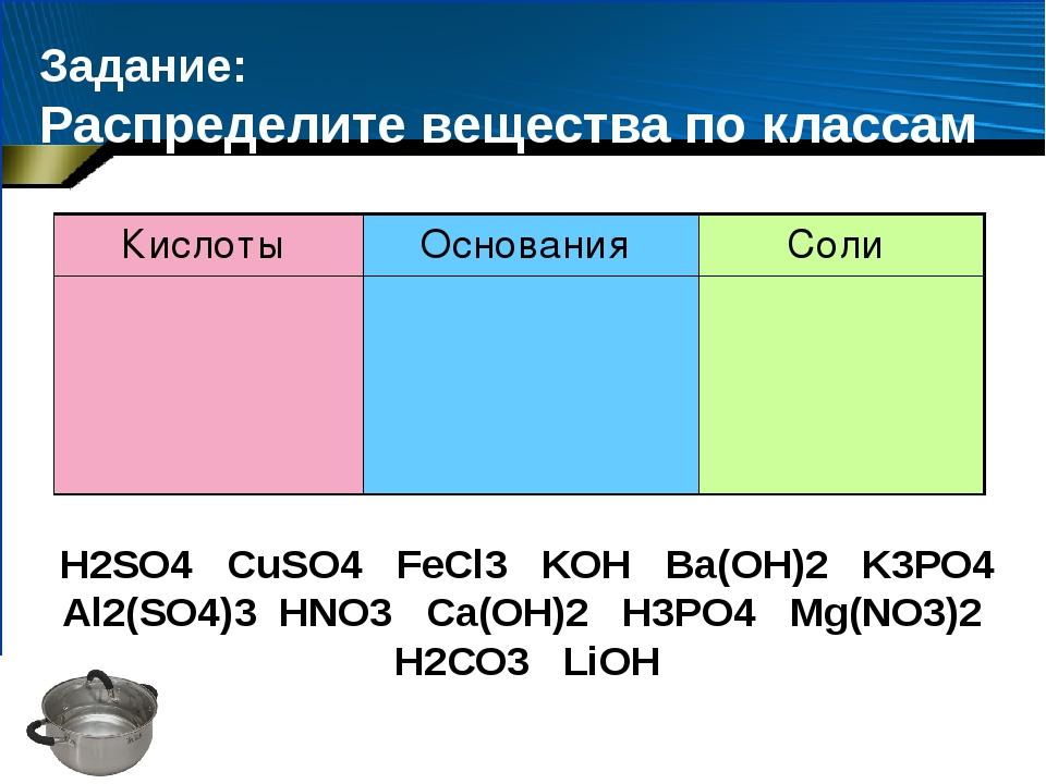 Задание: Распределите вещества по классам H2SО4 CuSO4 FeCl3 KOH Ba(OH)2 K3PO4...