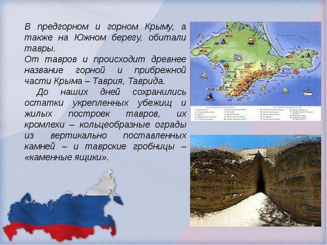 В предгорном и горном Крыму, а также на Южном берегу, обитали тавры. От тавро...