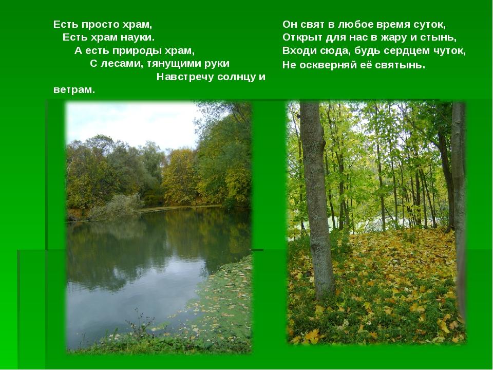 Есть просто храм, Есть храм науки. А есть природы храм, С лесами, тянущими р...