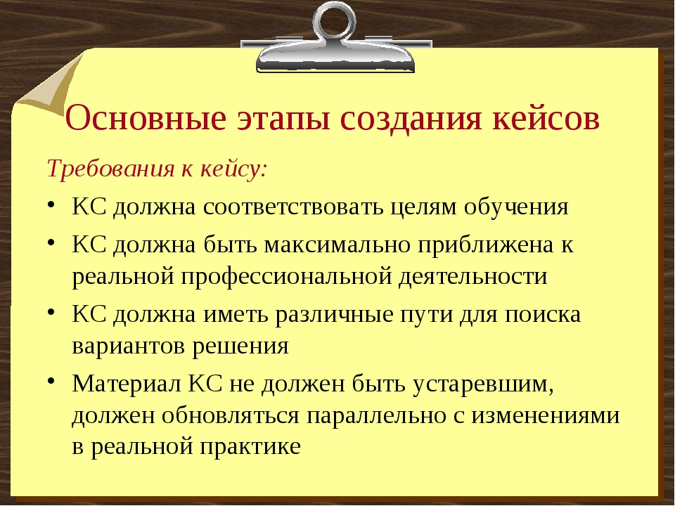 Основные этапы создания кейсов Требования к кейсу: КС должна соответствовать...