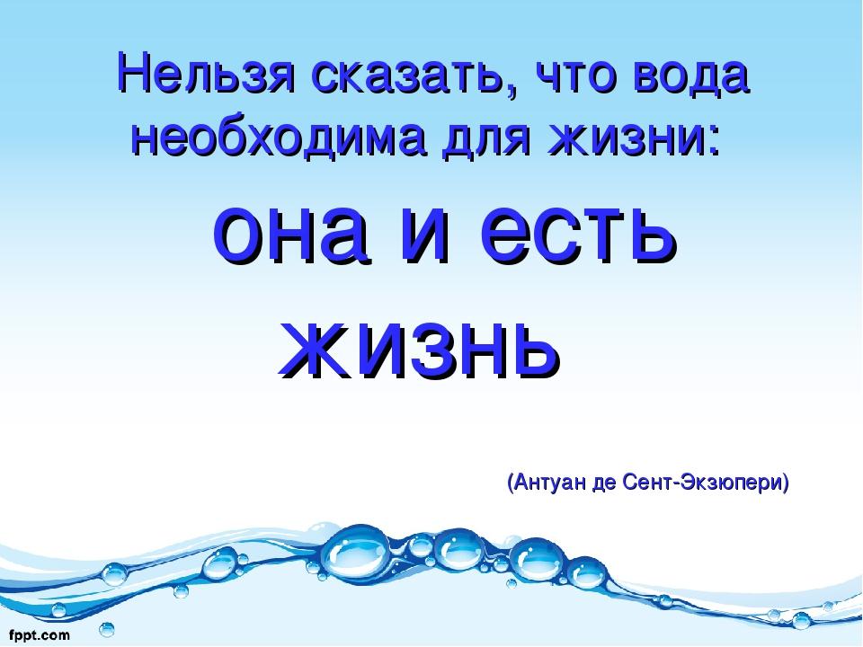 Нельзя сказать, что вода необходима для жизни: она и есть жизнь (Антуан...