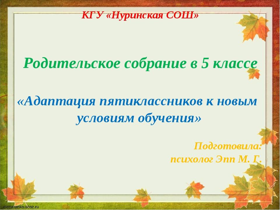 КГУ «Нуринская СОШ» Родительское собрание в 5 классе «Адаптация пятиклассник...