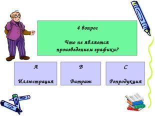 4 вопрос Что не является произведением графики? А Иллюстрация В Витраж С Репр