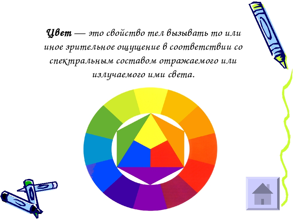 Цвет — это свойство тел вызывать то или иное зрительное ощущение в соответств...