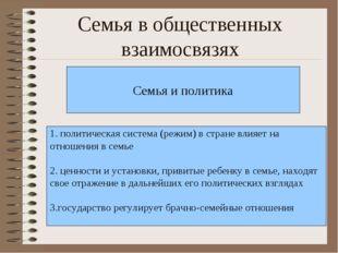 Семья в общественных взаимосвязях Семья и политика 1. политическая система (р