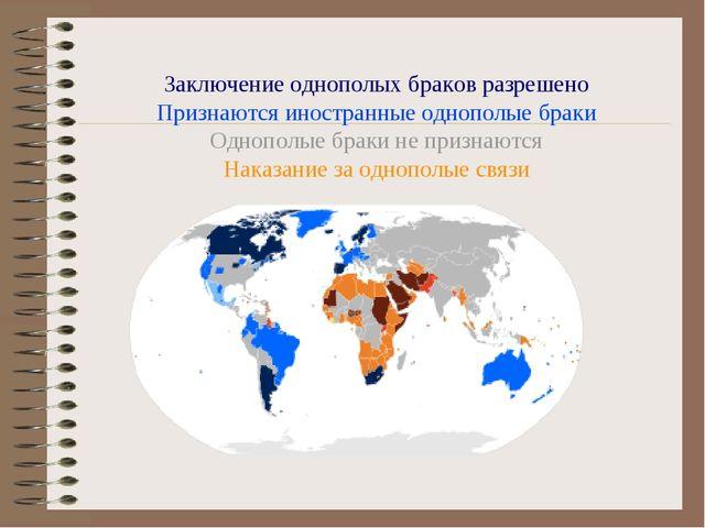 Заключение однополых браков разрешено Признаются иностранные однополые браки...