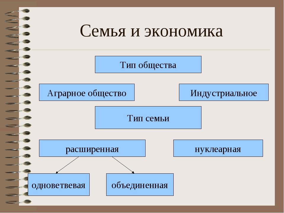 Семья и экономика Тип общества Аграрное общество Тип семьи расширенная однове...
