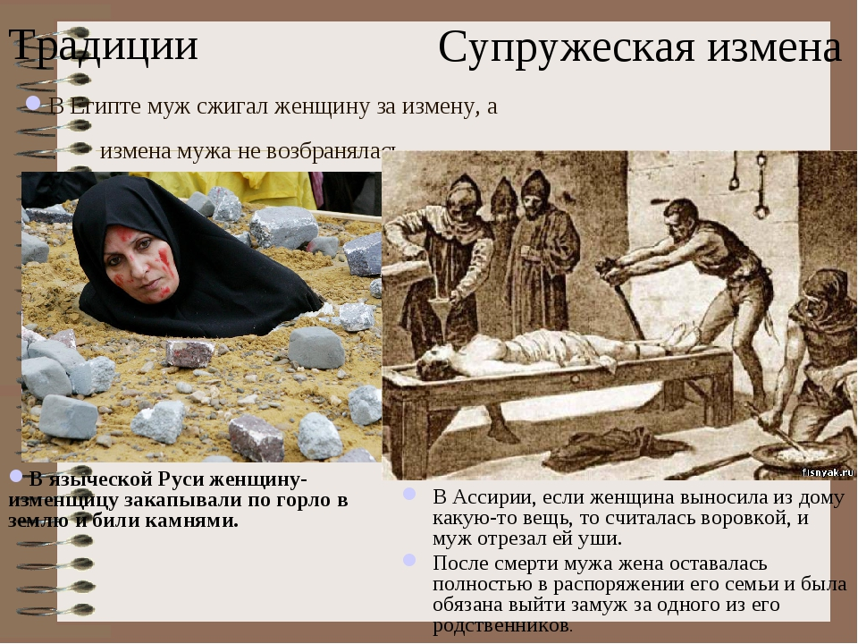 В Египте муж сжигал женщину за измену, а измена мужа не возбранялась. В Ассир...