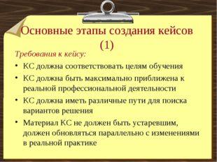 Основные этапы создания кейсов (1) Требования к кейсу: КС должна соответствов