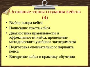 Основные этапы создания кейсов (4) Выбор жанра кейса Написание текста кейса Д