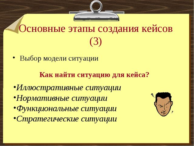 Основные этапы создания кейсов (3) Выбор модели ситуации Как найти ситуацию д...