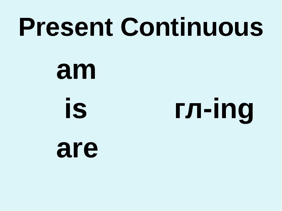 Present Continuous аm is гл-ing are