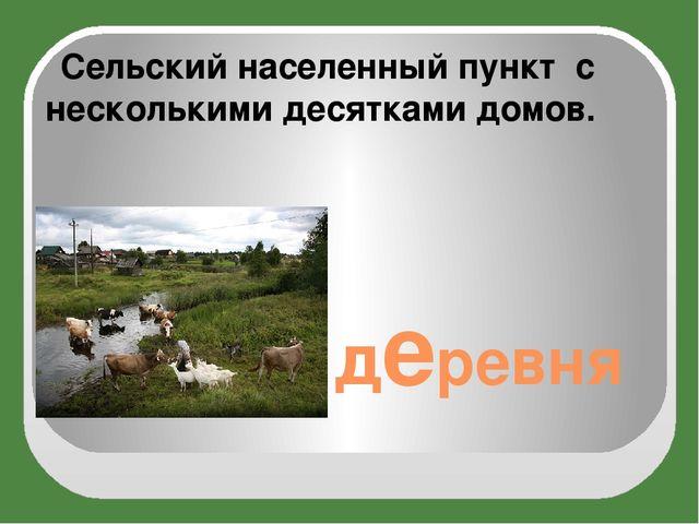 деревня Сельскийнаселенный пункт с несколькими десятками домов.