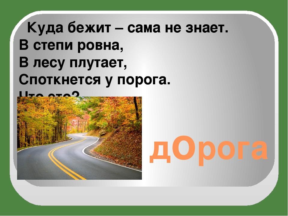 дорога Куда бежит – сама не знает. В степи ровна, В лесу плутает, Споткнется...