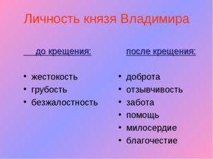 Личность князя Владимира до крещения: жестокость грубость безжалостность посл