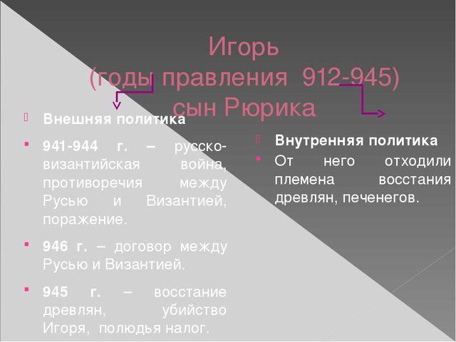 Игорь (годы правления 912-945) сын Рюрика Внешняя политика 941-944 г. – русск...